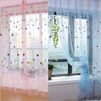 1 ud. 1M * 2M cortinas de ventana de Voile de tul transparente para dormitorio Sala balcón cocina impreso patrón de corazón cortina sombreada