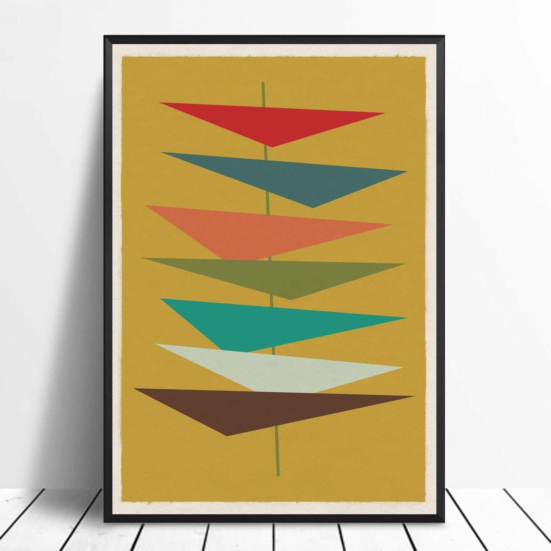 Mid Century Modern 03 Geometric Retro Minimalist Art Poster