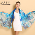 2015 Lady 100% Genuine Mulberry Silk Scarf Shawl Spring Autumn Female Silk Scarves Long Printed Shawls Beach Cover-ups 180*110cm