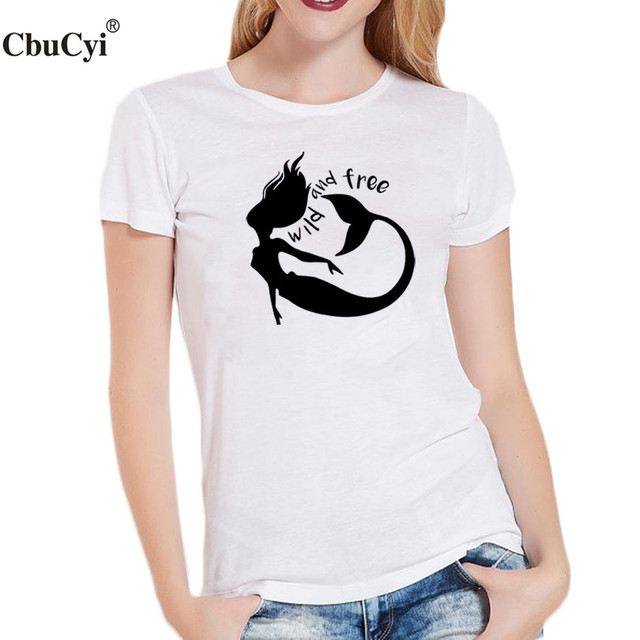 c8902faf Wild and Free Slogan T-shirt Tumblr Hipster Graphic Tees Women Clothes 2018  Summer Fashion Tops Women T Shirt