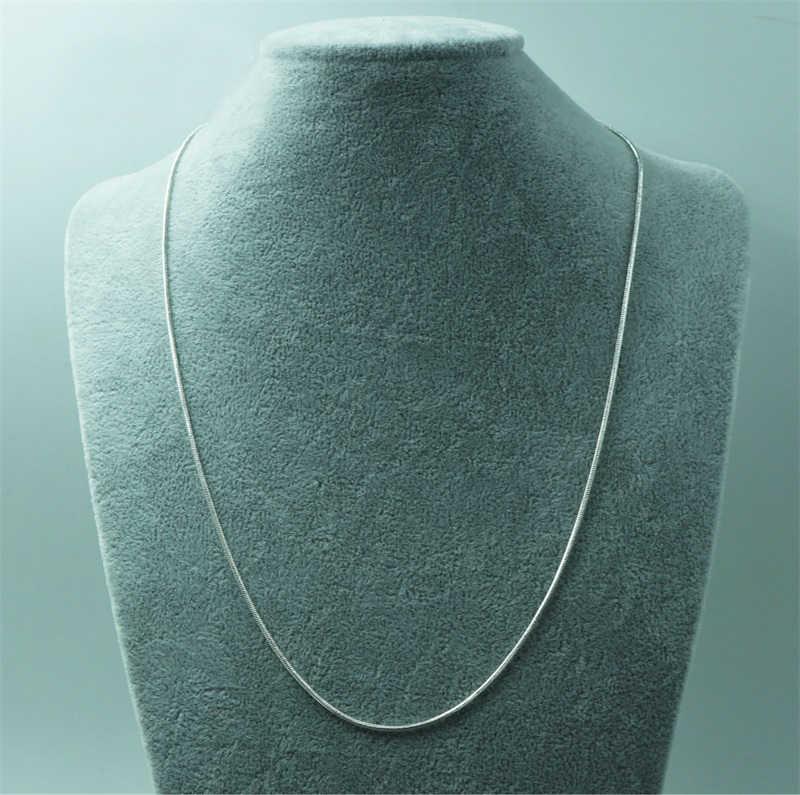 LMNZB 100% Аутентичные серебро 925 пробы колье ожерелья, изысканная бижутерия шириной 1 мм змея цепи Цепочки и ожерелья для Для женщин LYDHX01