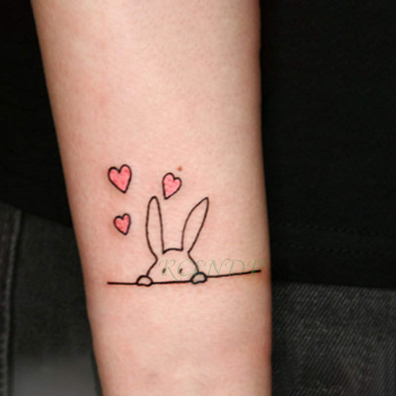 Waterproof Temporary Tattoo Sticker Lovely Heart Rabbit Animal Tatto Flash Tatoo Fake Tattoos For Kids Men Women