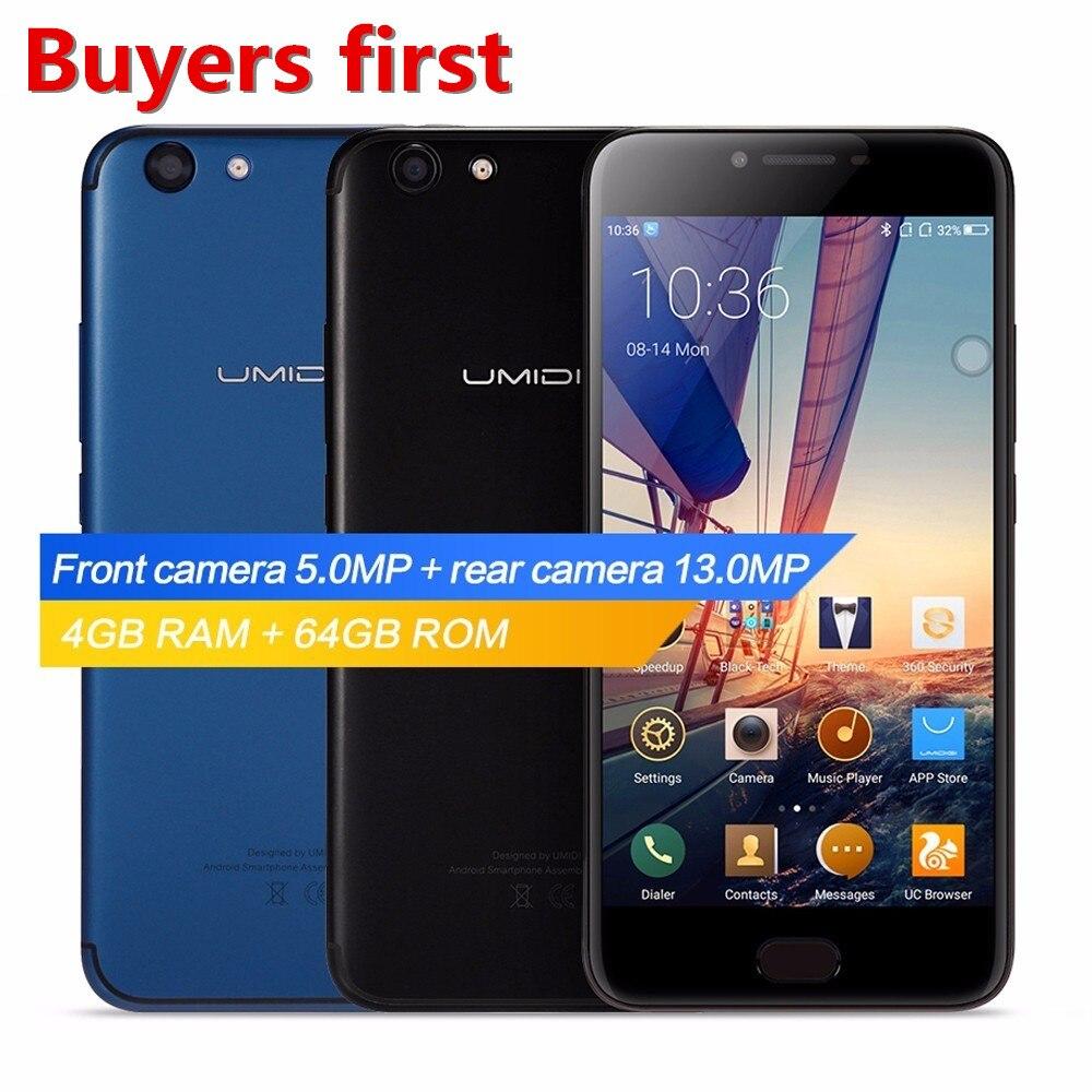original UMIDIGI C NOTE 2 5.5FHD smartphone Android 7.0 MTK6750T Octa Core 4GB RAM 64GB ROM 13.0MP 4000mAh 4G LTE mobile phone