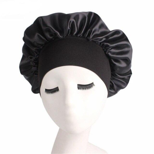 1 pieza mujer Banda ancha satén seda Bonnet Cap cómoda noche dormir Cap señoras suave seda largo cuidado del cabello Bonnet headwrap