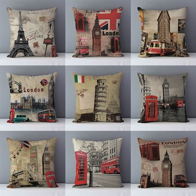 Retro Nostalgic Couch Cushion Home Decorative Pillows London Paris Scenic Printed Square 45x45cm Pillowcase Seat Back Cushions