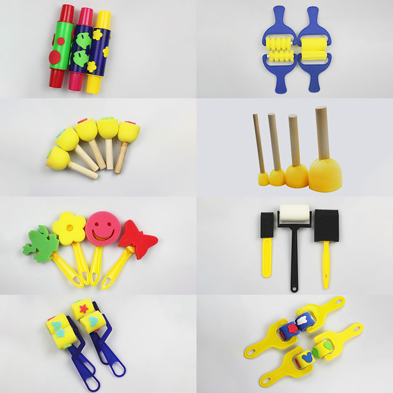 Children DIY Creative Roller Sponge Brushes Stamp Toys Foam Painting Graffiti Brush Painting Supplies Art Crafts Early Education все цены