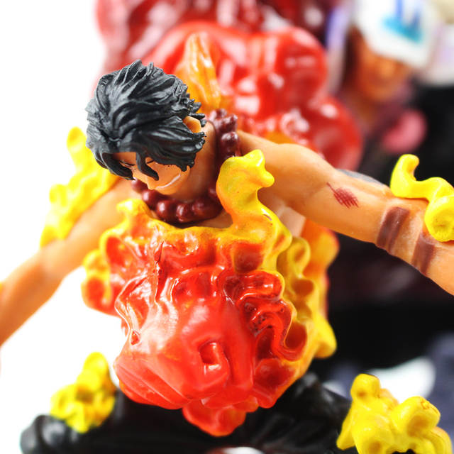 Us 15 85 33 Off 10 14cm One Piece Gear Fourth The Death Of Ace Monkey D Luffy Red Dog Sakas Ki Fighting Scenes Pvc Figure Collectible Model Toy In