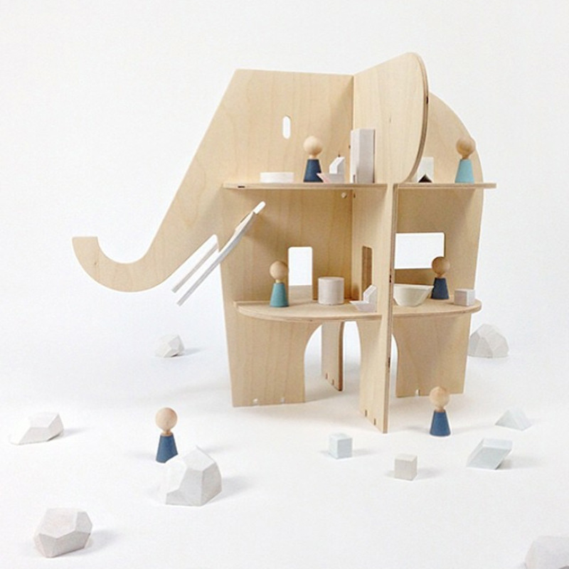 US $48 23 31% OFF|Creative Products Standing Elephant Wooden Bookend Shelf  Vintage DIY Handcrafted Wooden Baby Elephant Bookend Nursery Decor Art-in