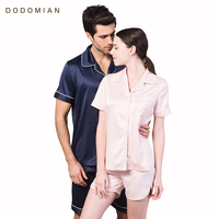 Women Pajama Sets Women Soft Short Sleeve Sleepwear Shorts Summer Lady Home Clothes Faux Silk Satin