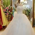 Luxo Cristal Correias Lace Branco Vestido De Noiva Camo 2016 Longa trem Vestidos De Novia Robe de Mariee Mariage Voile Livre grátis