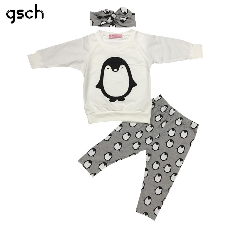 GSCH Baby Girl Clothes Sets Long Sleeve Penguin Suit 3pcs(Shirt + Pants+Headband) Infant Clothing OutfitFashion baby sets bebes