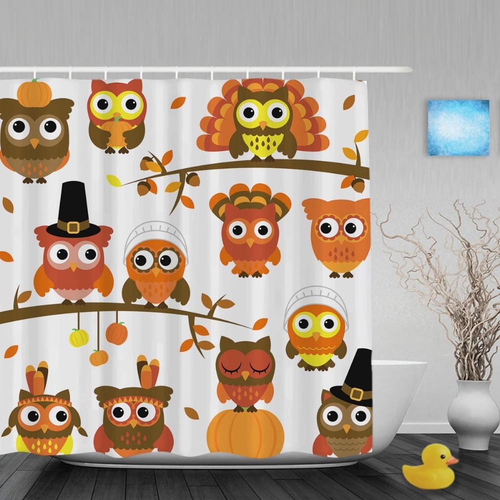 Halloween shower curtain hooks - Funny Halloween Decor Bathroom Shower Curtain Cute Cartoon Owel Pumpkin Shower Curtains Waterproof Polyester Fabric With Hooks