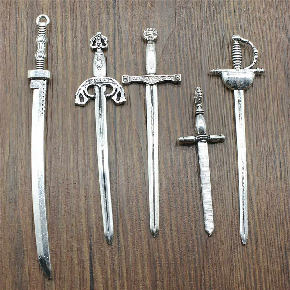 1 Piece Mix Charm Fencing Jewelry Findings Diy Katana Antique Silver Color Sword Charm For Jewelry Making Charm
