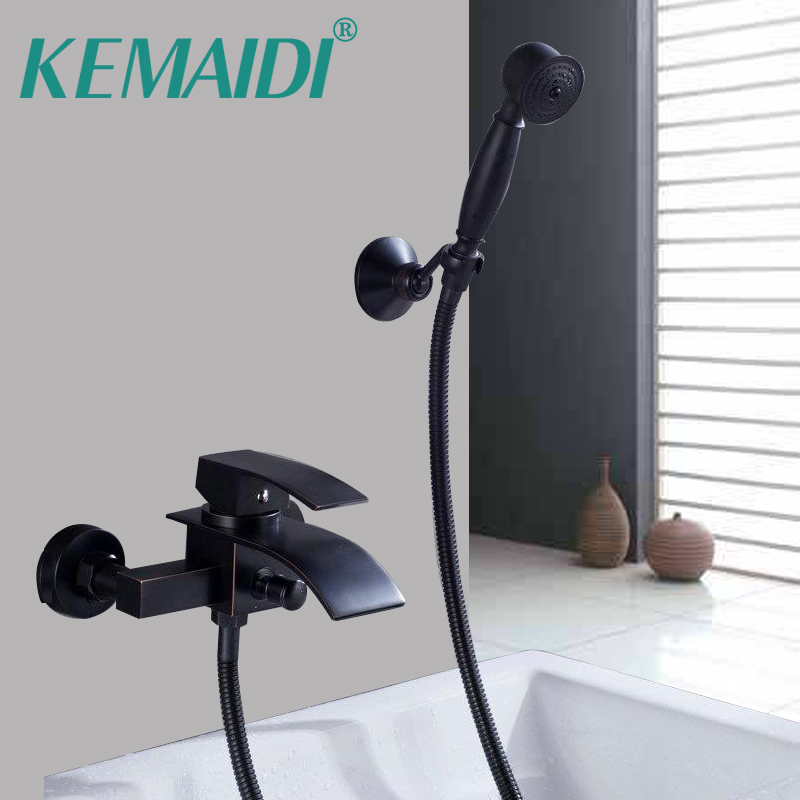 KEMAIDI Bathroom Rainfall Shower Faucet Set Black Bronze Dual Handle Bath Shower Mixer Taps Wall Mounted with Handshower