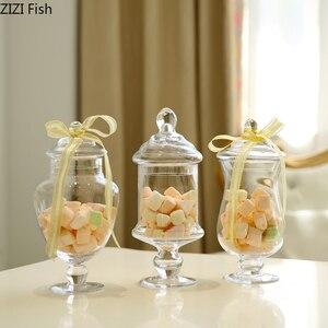 Image 1 - ヨーロッパスタイル透明ガラスキャンデーの瓶とガラスカバー結婚式のデザートディスプレイスタンドホームキャンディー貯蔵タンク