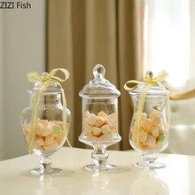 Frasco de doces de vidro transparente estilo europeu com cobertura de vidro casamento sobremesa expositor casa doces tanque armazenamento