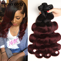Ombre Peruvian Virgin Hair Body Wave Two Tone Human Hair Weave 3 Bundles 99j Burgundy Peruvian Body Wave West Kiss Virgin Hair