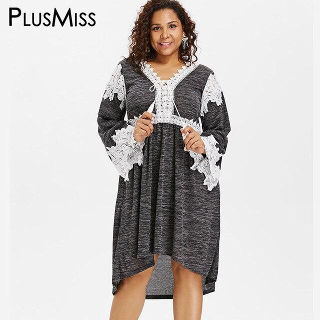 Plusmiss Plus Size Vintage Loose Lace Crochet Dress 5xl Xxxxl Xxxl
