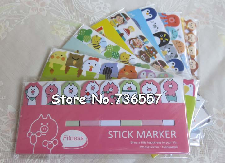 48 pcs/Lot Cute Post it stick & memo paper animal sticky note stickers bookmark stationery papelaria office School supplies 6754