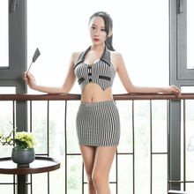 Sexy Cosplay OL Stripe Micro MINI Skirt Ice Silk Black White Bandage Straight Maid Tight Pencil Cute MINI Skirt With Short Tank(China)