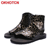 Leopard Genuine Leather Men Sandals Open Toe Ankle Sandal Boots Summer Casual Shoes Zipper Beach Flip Flop Metal Totem Slides
