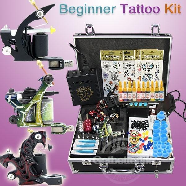 Principiante Kit de Tatuaje de Alimentación/Color/Tinta de punta de Aguja suministros ALI-WS-K302B-1 Grips envío gratis