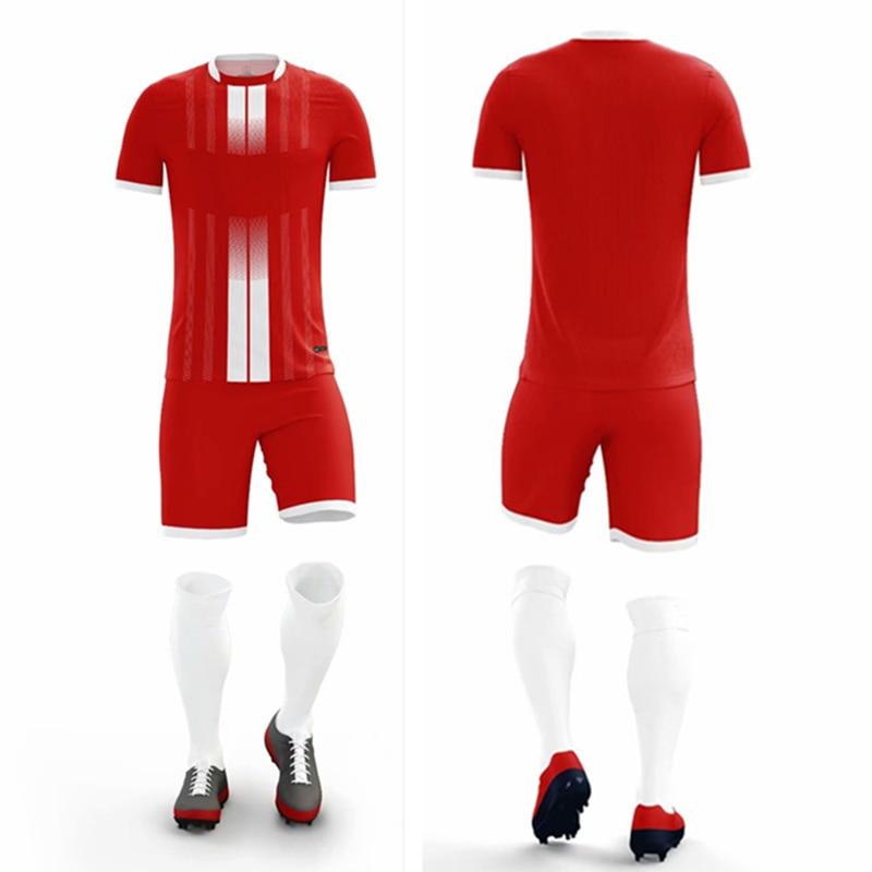 ZMSM Kids Adult Vertical Stripes Print Soccer Jerseys Set Survetement Football Kit Men Children Football Training Uniform MB8607 in Soccer Sets from Sports Entertainment