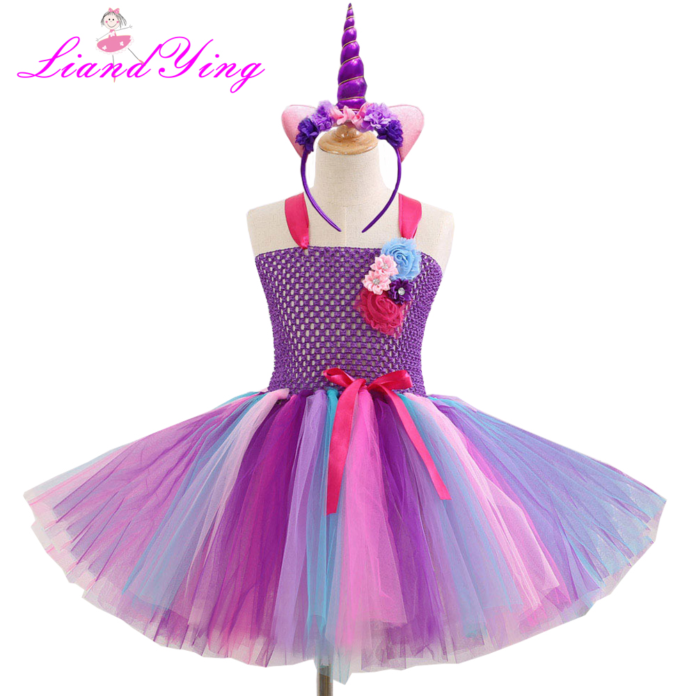 Kids Girl Halloween Dress for Cosplay Party Rainbow Color 1st Birthday Party Tutu Dresses Children Cosplay Costume Set