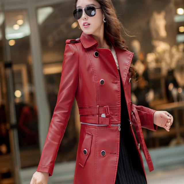 2016 Women new autumn and winter coat long-sleeved PU leather euramerican fashion suits brought the locomotive furs size 4 xl