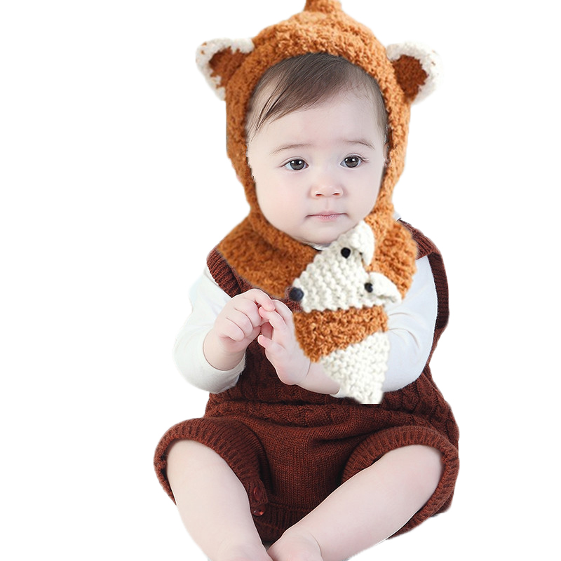 Autumn Winter New Fashion Children Hat Cartoon Fox Shape Coral Velvet Baby Hat Scarf Two Pieces Boy Girl Caps Scarf Collar Set zea rtm0911 1 children s panda style super soft autumn winter wear cap scarf set blue