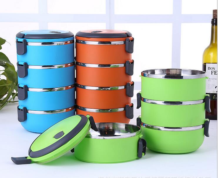 Round Shape Stainless Steel Lunch Box For Kids Thermal