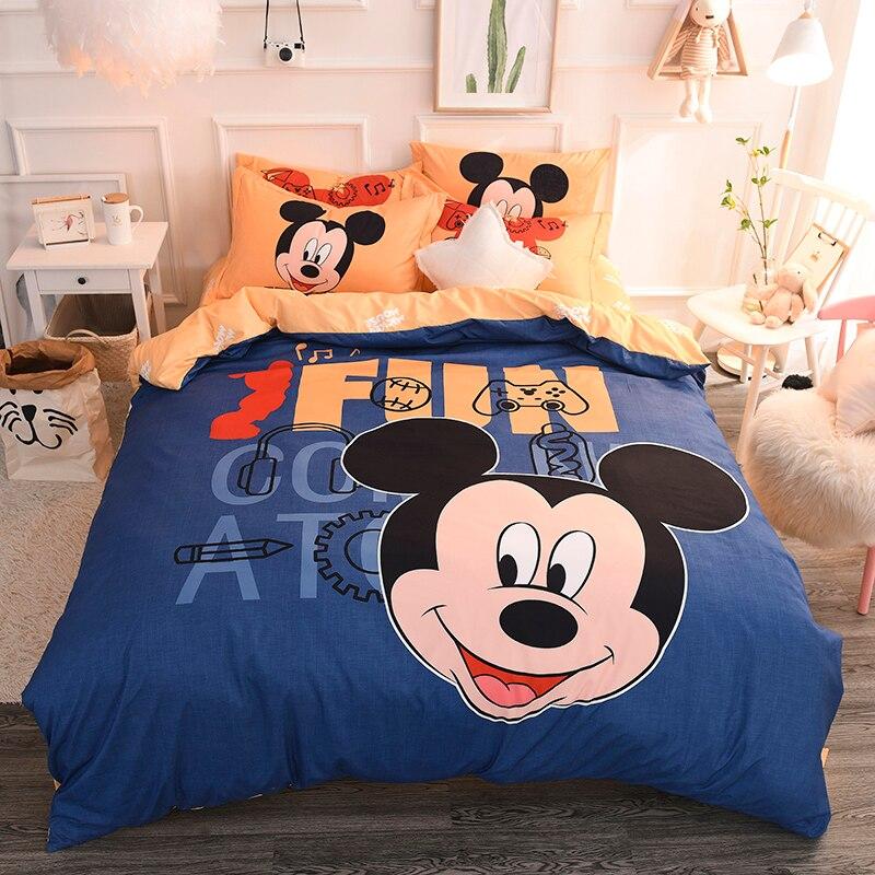 100% coton linge de lit ensemble courtepointes et ensembles de literie belle Disney Mickey Mouse enfants simple Double reine housse de couette drap de lit nouveau