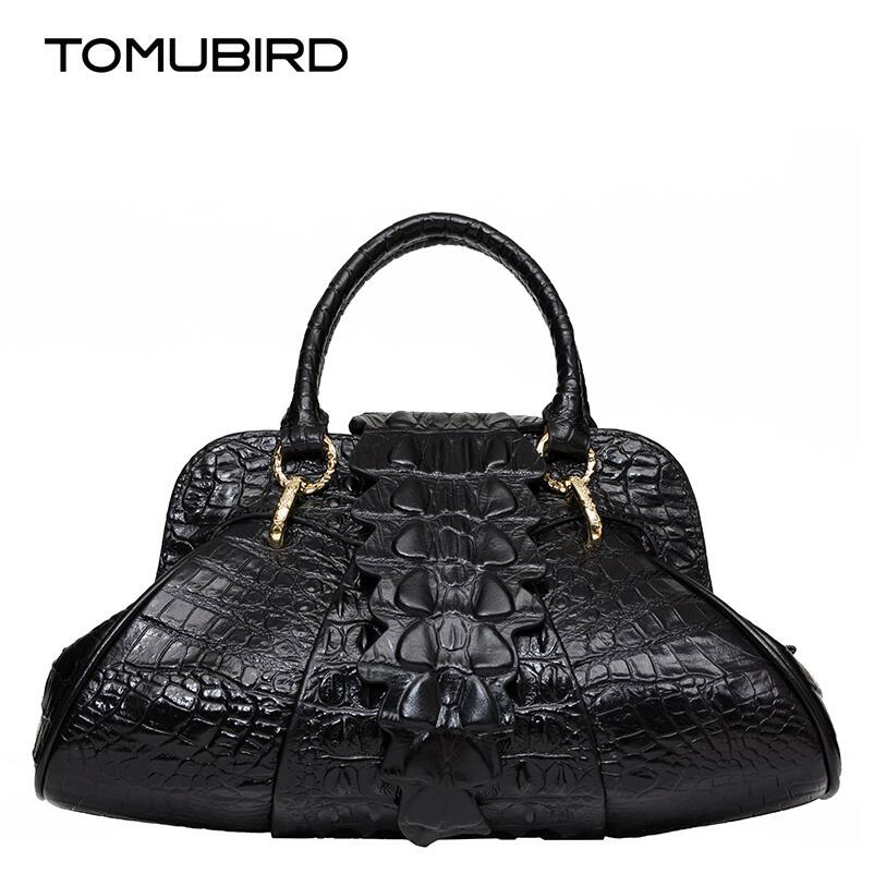 TOMUBIRD new superior cowhide leather Designer Inspired Ladies Embossed Crocodile Tote Leather Satchel Handbags tomubird new superior cowhide leather classic designer embossed crocodile leather tote top handle handbags genuine leather bag