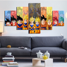 Wall Art Canvas Painting Home Decoration Living Room 5 Pieces DRAGON BALL Anime Decorative HD Print