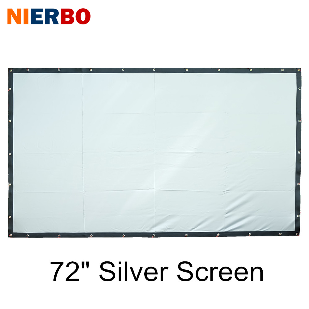 NIERBO Silver Projector Screen 72 Inches HD Foldable Portable Projection Screen High Definition Business Home Theater Commercial