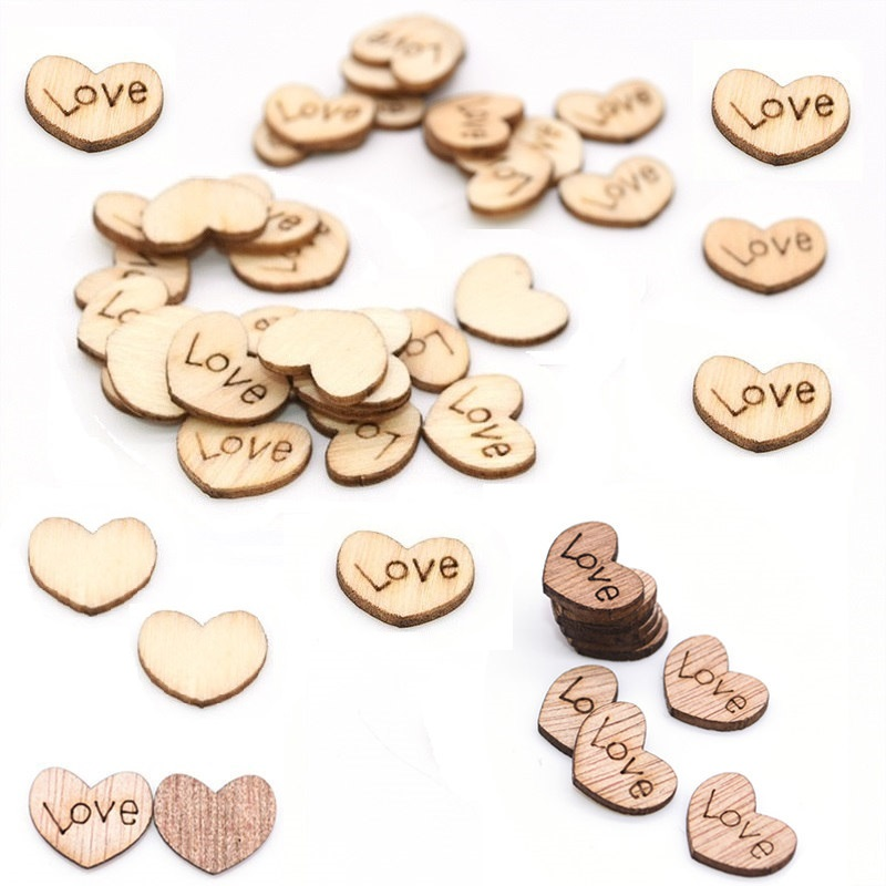 100Pcs Wooden Love Hearts Embellishments Handmade Wood Slices Confetti Craft Wedding Favor Baby Shower Table Scatter Decoration