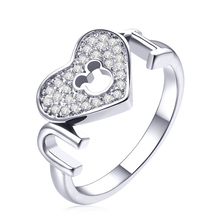 Creative I LOVE YOU Brand Ring For Girlfriend Women Love Heart-shaped Cartoon Mickey Engagement Anniversary Gift