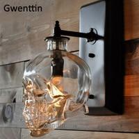 Retro Skull Bones Wall Lamp Nordic Led Sconces Vintage Glass Bottle Wall Light Fixtures Bedroom Bar Loft Industrial Home Decor