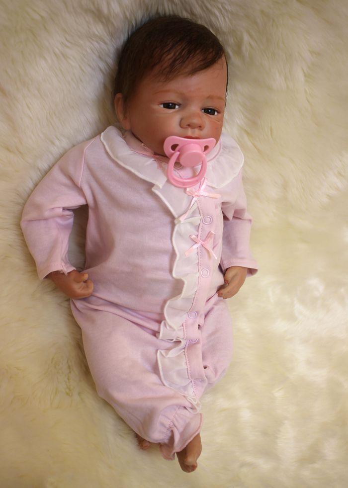Bebe poupée reborn rose bébés filles toucher vinyle Silicone et doux corps jouets pour enfants cadeau d'anniversaire jouet de noël