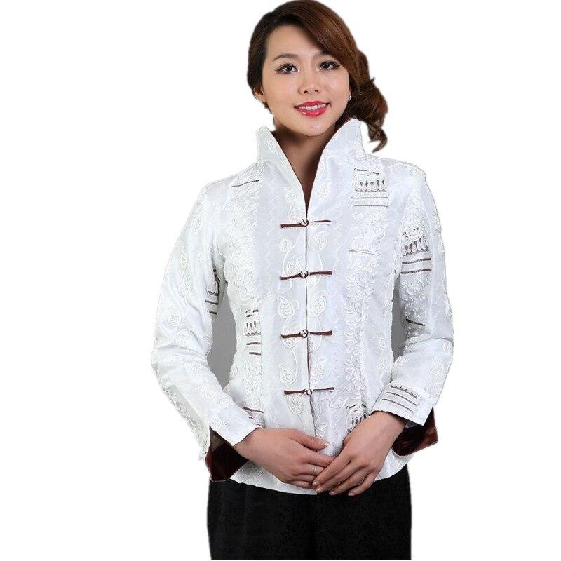 Alta calidad blanco satén de seda bordado chaqueta femenina abrigo de manga larg