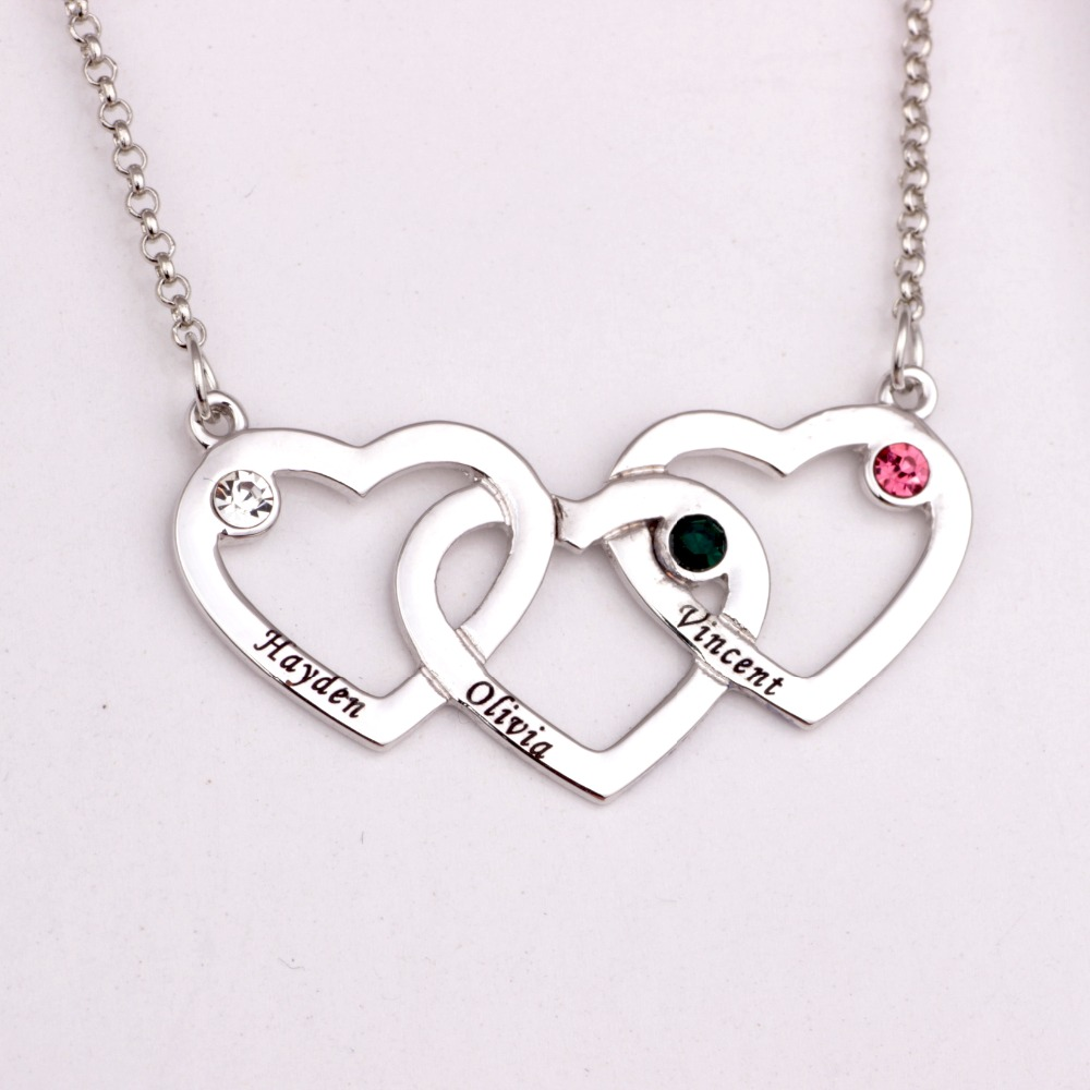 Love Pendant Heart  Necklace with Birthstones 2018 New Arrival Long Birthstone Necklaces Custom Made Any Name YP2484Love Pendant Heart  Necklace with Birthstones 2018 New Arrival Long Birthstone Necklaces Custom Made Any Name YP2484