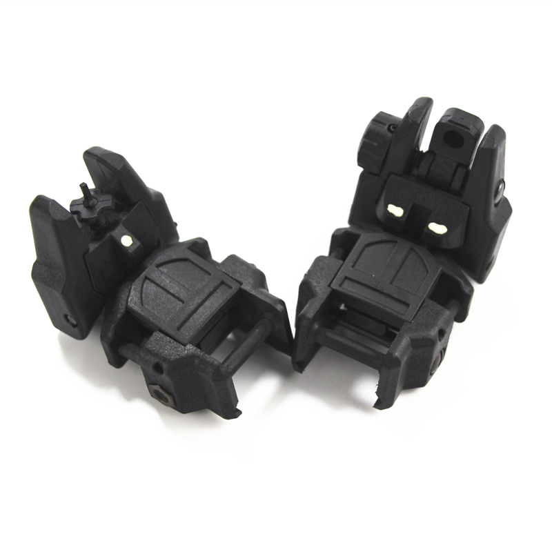 High Quality 2 Pcs Tactical Folding Front/Rear Flip Backup Sights Scope Mount Accessories Black Set