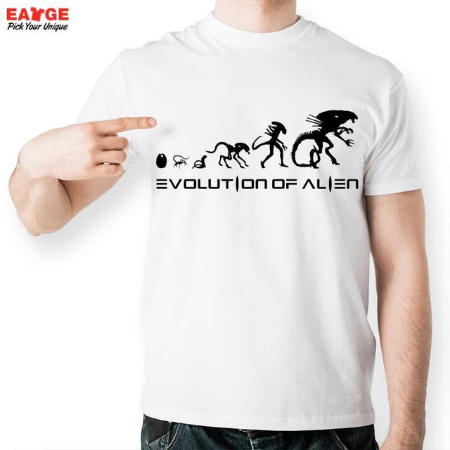 833982ab4b [EATGE] New High Quality Alien Evolution Design T-shirt Men Funny White  Round Neck Summer T Shirt Fashion Tshirt Novelty Tee