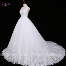 Waulizane Romantic Chapel Train Deep V Neck Ball Gown Vestido De Noiva Luxury Lace Appliques Sashes 2017 Wedding Dress Plus Size