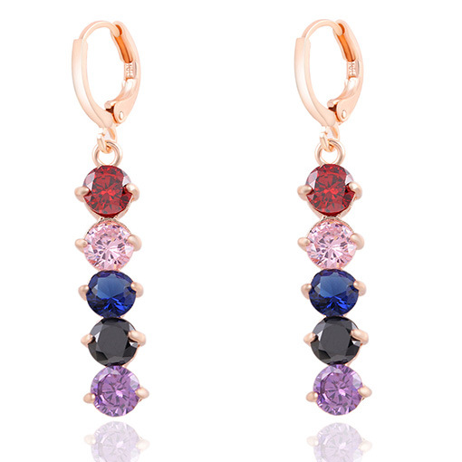 Trendy And Silver Plated Colorful Crystal Tassel Earrings Loop Drop Ear Charm Zircon Stone Earrings Long Brincos Women