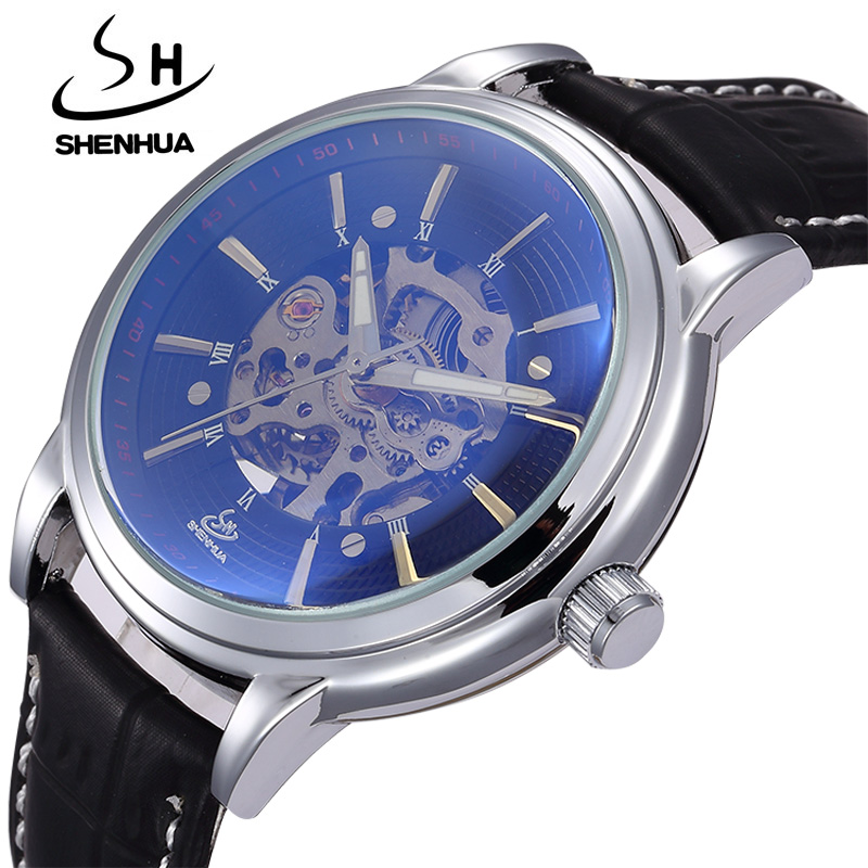 Mechanical Men Watches Top Luxury Brand SHENHUA Male Waterproof Clock Machinery Watches Automatic Self Wind Skeleton Wrist Watch top brand luxury men skeleton mechanical watch gold skeleton vintage watches hollow automatic self wind wrist watch man clock