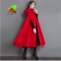 2018 new Women Autumn & Winter fashion warm red Cashmere loose cloak Clothes Vintage Cotton lining plus size woolen coat trench