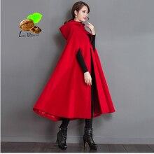 2018 new Women Autumn & Winter fashion warm red Cashmere loose cloak Clothes Vintage Cotton lining plus size woolen coat trench