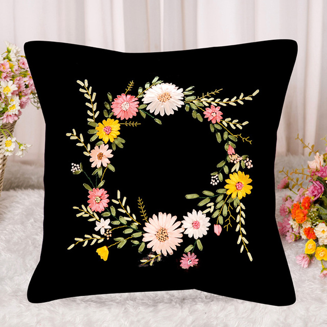 Diy Flower Printing Ribbon Embroidery Black Cushion Set For Beginner