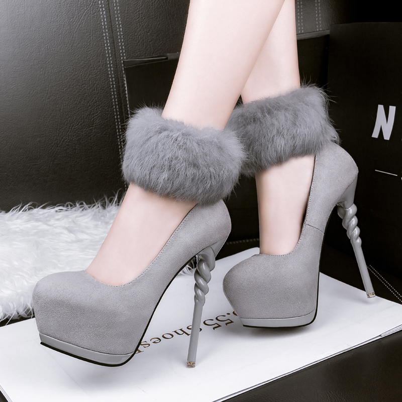 Sexy Women's Pumps Round Toe Shallow Mouth High Heels with Platform Thin Heels Slip-On Women's Shoes Horse Faux Fur Foot Ring